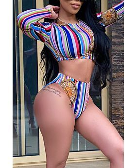 Multicolor Stripe Long Sleeves Sexy Stylish Two-Piece Set-M-Sku-041750,Multi color