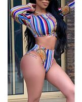 Multicolor Stripe Long Sleeves Sexy Stylish Two-Piece Set
