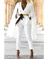 Fashion sexy simple shawl jumpsuit