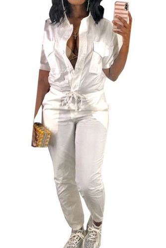 Pocket Lapel Belted Casual White Jumpsuit-L-SKU-046004,White