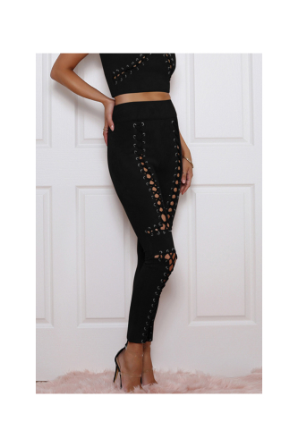 Suede Strappy Front Sexy High Quality Pants TOP-030961-M-Sku-052848/u,Black