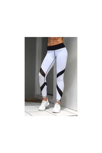 Contrast Color Mesh Stitched Breathable Sport Leggings-S-Sku-052941/UV