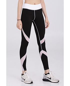 Contrast Color Mesh Stitched Breathable Sport Leggings-L-Sku-052941/UL,Mix color