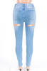 Blue Cut Back Plus Jeans-Sku-052968/Blue-XL