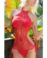 Crochet Overlay One-Piece Swimsuit