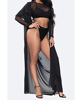 chiffon Long Backless Mantle Cover Up-One Size-Sku-074896,Black