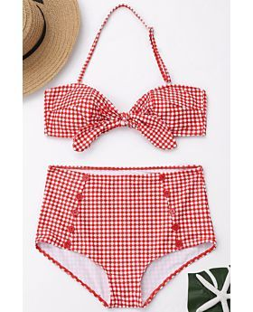 Red Gingham Halter Handmade Button Two-Piece Swimwe-L-Sku-075221/xx,Red