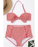 Red Gingham Halter Handmade Button Two-Piece Swimwe