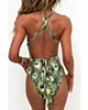 Padded Peacock Feathers Print Twine Sexy One-Piece Swimsuit-M-Sku-075530/cv,Multicolor