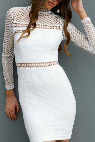 Mock Neck Hollow Out See Through Sexy Dress-L-Sku-A20209/cv,White