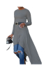 COTTON Irregular Solid With Belt Casual Dress-S-Sku-A20284/sd,Gray
