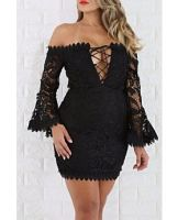Shoulder Off Lace Wide Sleeves Strappy Dress Wholesale