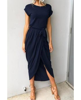 COTTON Belted Loose Maxi Casual Dress-Sku-A20243/7-L,Dark Blue