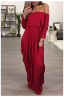 Autumn New Loose Off-Shoulder Solid-Color Maxi Casual Dress