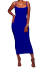 -XXL Solid Color Sling Maxi Plus Size Basic Dress-XXL-Sku-A20299/C,Blue