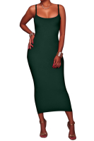 S-XXL Solid Color Sling Maxi Plus Size Basic Dress