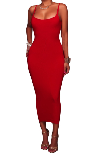 -XXL Solid Color Sling Maxi Plus Size Basic Dress-XXL-Sku-A20299/G,Red