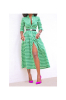 Green Button Autumn Casual Dress-XL-Sku-A20307/Green