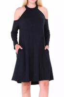 COTTON Thick Long-Sleeves Casual Basic Dress