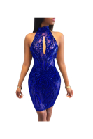 Anne recommend:Blue Sequin See Through Sexy Mini Dress