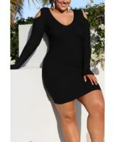Hollow Shoulder Long-Sleeves Solid Color Casual Dress