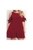 Plus Size Cold Shoulder Knot Comfortable Mini Dress-XXL-Sku-20455/Red/Black