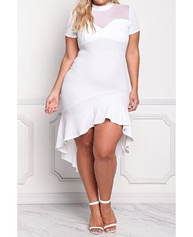 Plus Size Mesh Stitched or regular Mermaid Midi Dress-A20474-XL,White