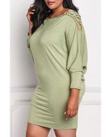 Plus Size Batwing Lace Up Long Sleeves Casual Dress