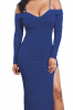 Barely Siing High Slit Long Sleeves Sexy Dress -L-Sku-A20496,Dark Blue
