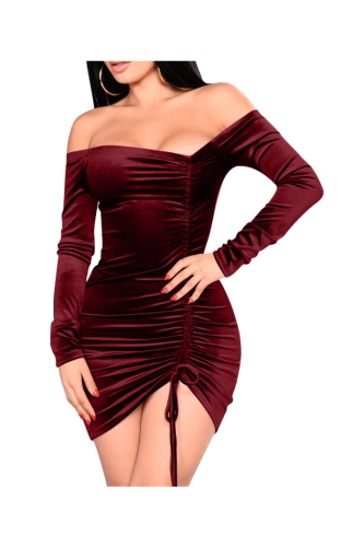 Velvet Ruched Irregular Off Shoulder Sexy Mini Dress-S-Sku-A20538/B,Rose Red