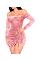 Velvet Ruched Irregular Off Shoulder Sexy Mini Dress