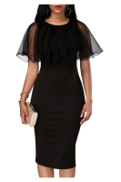 Black Mesh Plus Size Elegant Midi Dress