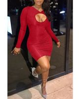 Red Hollow Front Long-Sleeves Tight Bodycon Club Dress