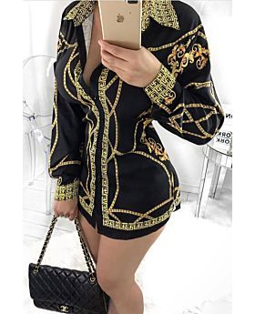Black Printed Long-Sleeves Over Size Shirt Dress-Sku-A20655/v-XL,Black