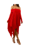 Off-Shoulder Irregular Oversize Maxi Dress-XL-SKU#:20658k,Red