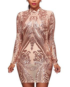 Plus Size Sequined Mesh Sexy Long-Sleeves High Quality Club Dress-S-SKU-A20661/AS,Beige