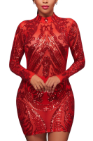Plus Size Sequined Mesh Sexy Long-Sleeves High Quality Club Dress