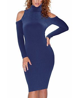 Full Winter New Solid Color Hollow Should Long-Sleeves Knitting Dress High Quality-L-Sku-A20664,Dark Blue
