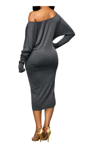 Oversize Shoulder Long-Sleeves Solid Color Cotton Midi Dress-XL-Sku-A20666/lc,Gray