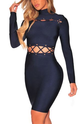Solid Color Hollow long-Sleeves Sexy Tight Mini Dress-S-Sku-A20672/vc,Blue