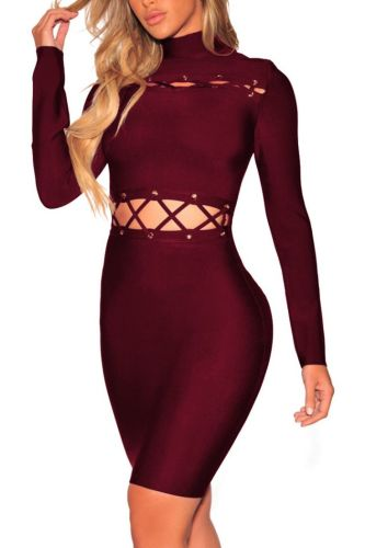 Solid Color Hollow long-Sleeves Sexy Tight Mini Dress-M-Sku-A20672/vb,Red