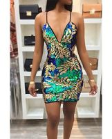 Best Selling Add New Colors: Leaves Sequined Sexy Sling Little Dress