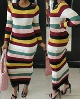 Mixed Colors Knitting Maxi Dress
