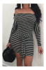 Stripe Off Shoulder Strppy Mini Dress-L