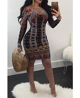 Multicolor Long-Sleeves Sexy Dress -L-Sku#: A20725