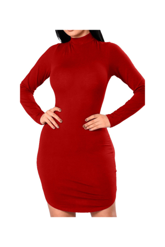 Anne Recommend: High Neck Strappy Back Solid Color Long-Sleeves Mini Dress-S-Sku-A20746/Z,Red