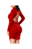 Solid Polyester, Spandex Lace Above Knee, Mini Sexy & Club-XL-Sku-A20746/UL,Red