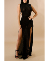Anne recommend:Black See Through Rhinestone Maxi High Quality  Dress