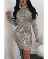 Anne recommend:Silver Mesh Long-Sleeves Zipper Back High Quality Club Dress