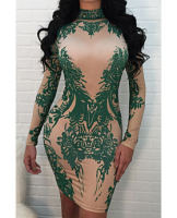 Nude&Green Print Long-Sleeves Zipper Back Sexy Little Dress